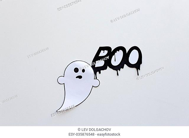 ghost doodle and word boo on white background