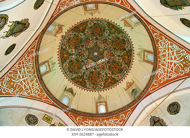 Mevlana Museum, city of Konya, Turkey. Looking up inside the mosque dome