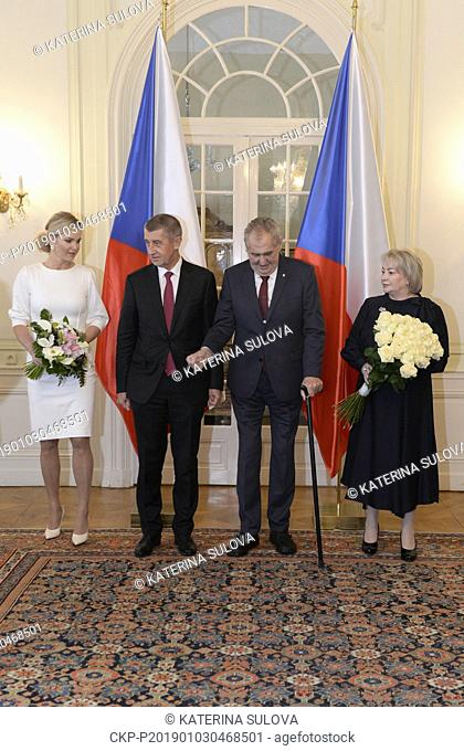 Czech President Milos Zeman (2nd from right) and his wife Ivana Zemanova (right) pose for photographers prior to common lunch with Czech Prime Minister Andrej...