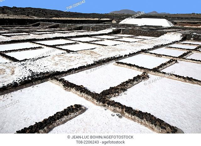 spain,canary islands,lanzarote : salinas de janubio, salt pan