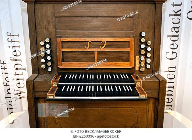 Organ console from Johanniskirche, St. John's Church, organ, register, Bach-Museum Leipzig, Leipzig Music Trail, Leipzig, Saxony, Germany, Europe