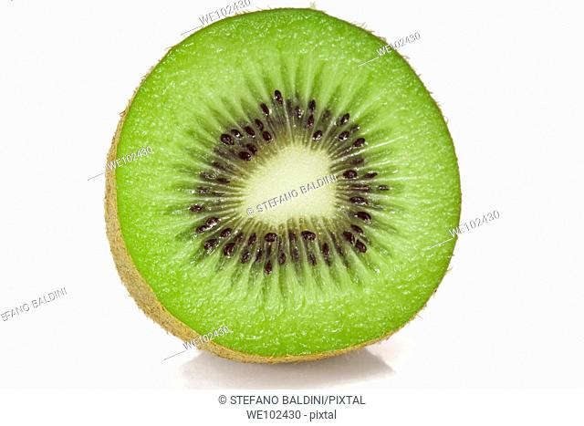 Kiwi half and round slice macro on a white background