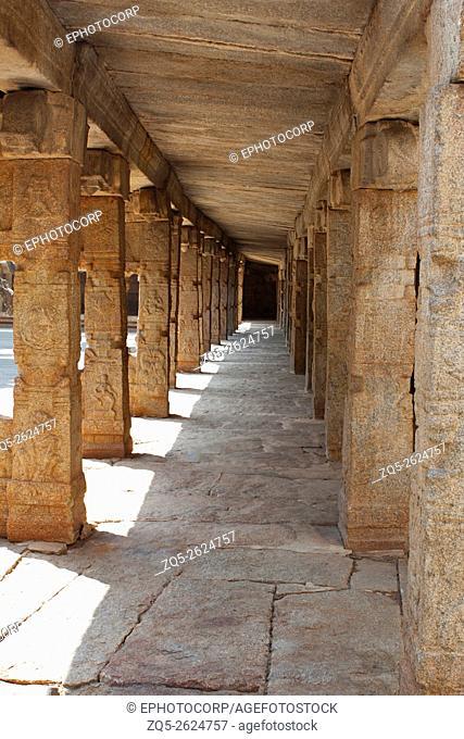 Hallway with carved motif on pillars, Veerbhadra temple, Lepakshi, Anantapur District, Andhra Pradesh, India