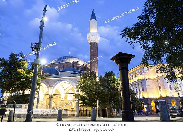 Banya Bashi Mosque in a suggestive summer sunset. Sofia, Bulgaria