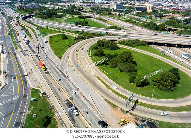 Newark, New Jersey, USA, Aerial View, Cloverleaf Highway, Roads from Airplane,
