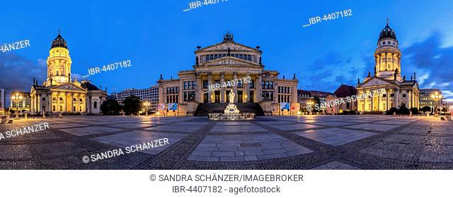 Gendarmenmarkt with playhouse, left German Cathedral, right French Cathedral, Dusk, Berlin, Germany