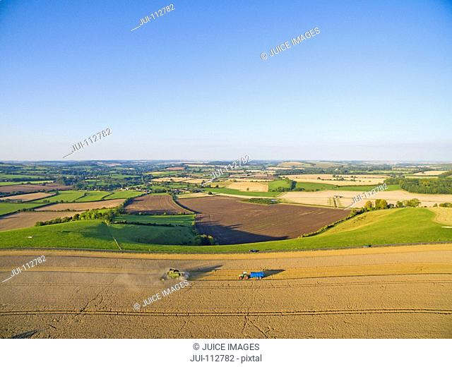 Scenic aerial landscape view of combine harvester and tractor trailer in barley crop in rural countryside under blue sky