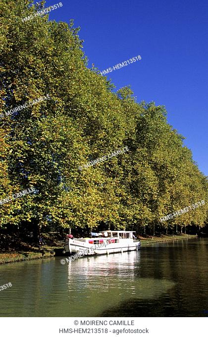 France, Aude, Bram, Canal du Midi, listed as World Heritage by UNESCO