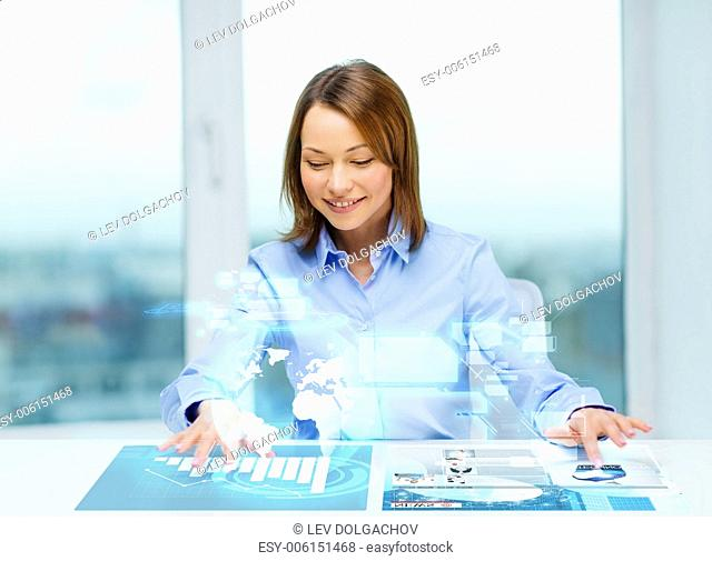 business, education and technology concept - smiling woman pointing to buttons on virtual screen