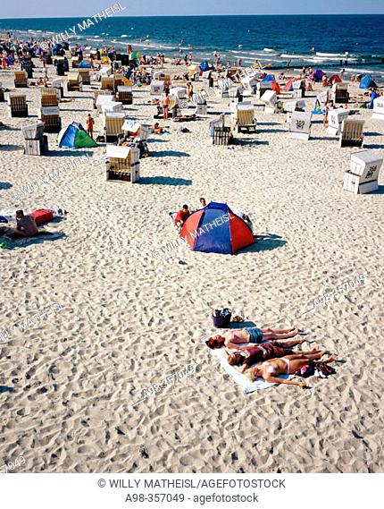Beach chairs, Heringsdorf, Usedom, Mecklenburg-Western Pomerania, Germany