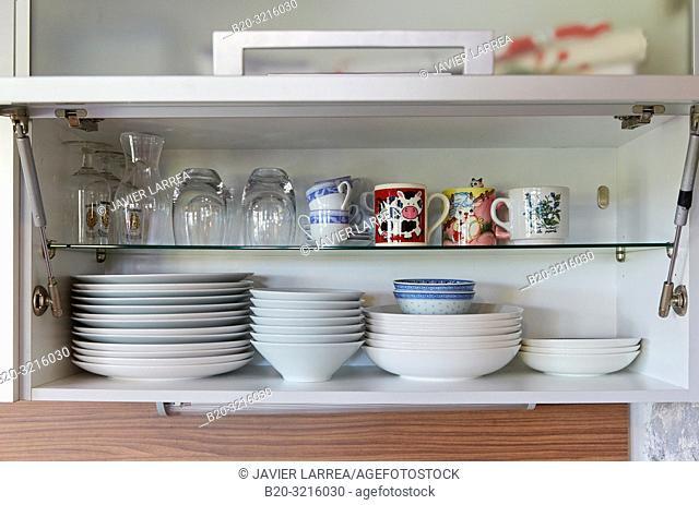 Crockery inside the cabinet, Basque farmhouse, Deba, Gipuzkoa, Basque Country, Spain, Europe