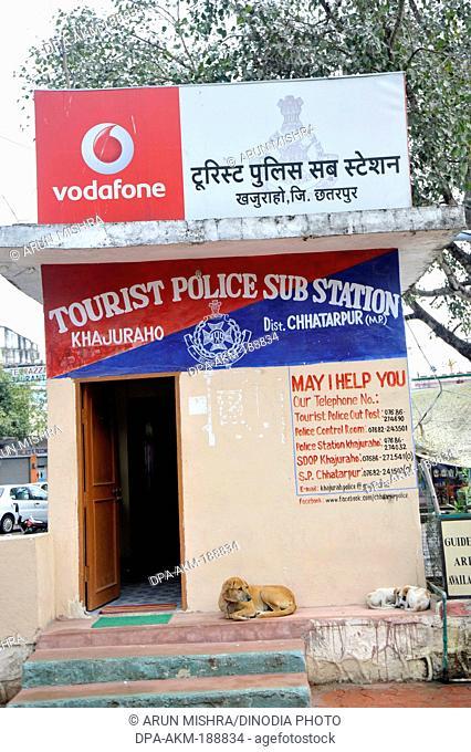 Police sub station Khajuraho temple Madhya Pradesh India Asia
