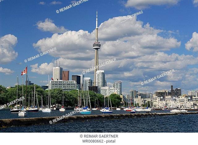 Moored sailboats at National and Alexandra Yacht Clubs Toronto