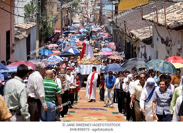 Honduras, Copan, Santa Rosa De Copan, Historic town center, Samana Santa, Holy Cross Procession
