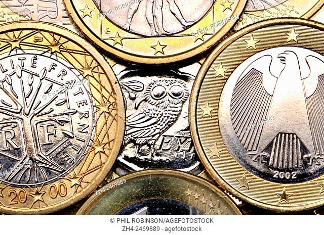 Greek Euro coin hiding behind other countries