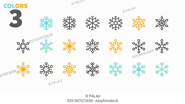 Snowflakes Pixel Perfect icons Well-crafted Vector Thin Line Icons 48x48 Ready for 24x24 Grid for Web Graphics and Apps. Part 2 Colors 3