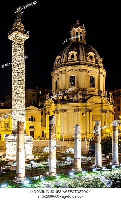 Trajan's Column in Trajan's Forum and Santissimo Nome di Maria al Foro Traiano Church, Rome, Italy, Europe