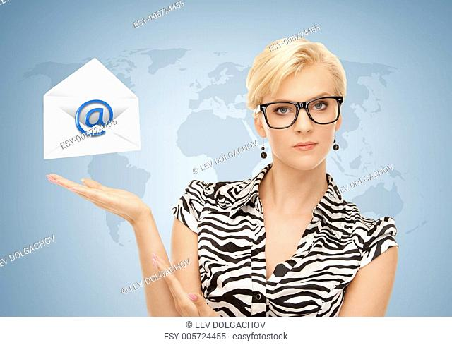 woman with world map showing virtual envelope