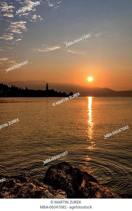 Salo in the morning before sunrise, Lake Garda, bay, Italy, lake, water