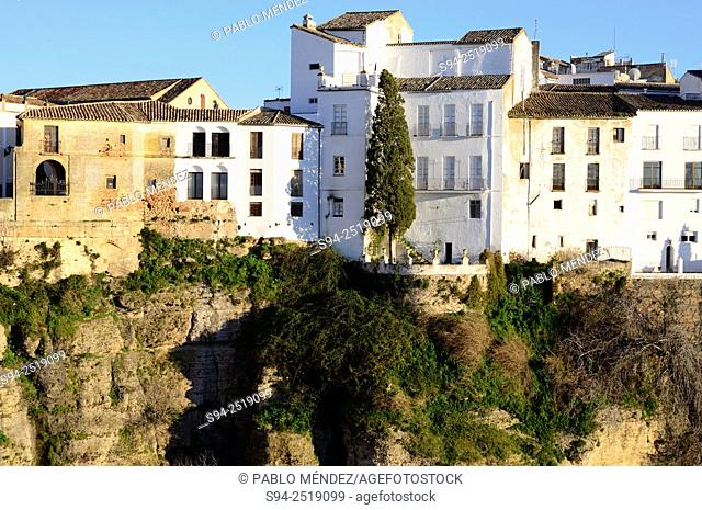 View of the Cut and hanged houses of Ronda, Malaga, Andalusia, Spain