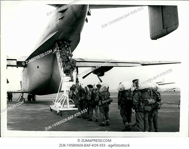 Jun. 06, 1958 - Parachute troops leave for Cyprus: The first group of the Parachute Troops ordered to Cyprus - owing to the growing violence between Turks and...