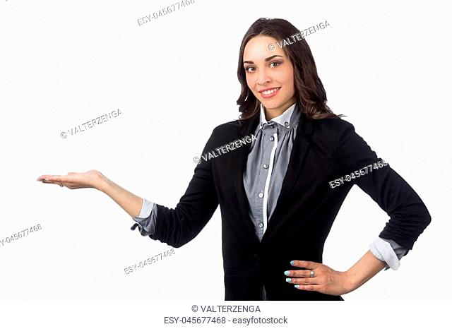 business women pointing an idea isolated on white