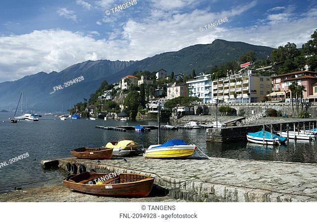 Boats moored at coast