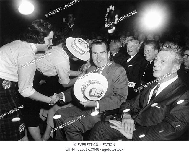 Richard Nixon at a Republican campaign event, April 4, 1960. At this time he was the presumed presidential nominee. At right is Senator Everett Dirksen