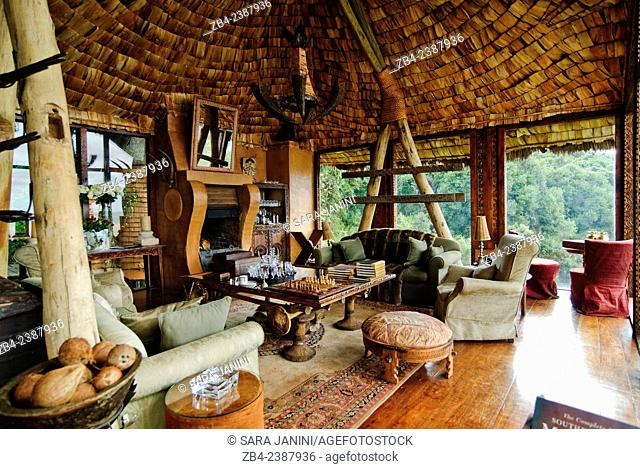 Ngorongoro Crater Lodge, renowned for its ecclectic mix of European and African design, Ngorongoro Crater, Ngorongoro Conservation Area, Tanzania, East Africa