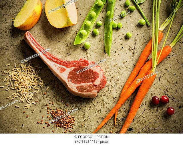 Raw Lamb Chop with Fresh Ingredients