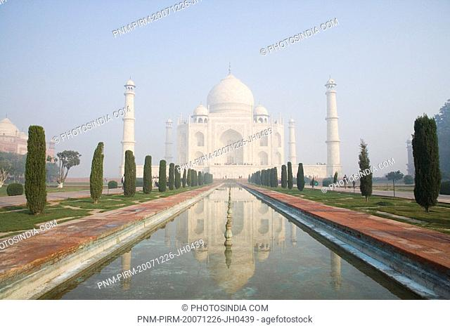 Pond in front of a mausoleum, Taj Mahal, Agra, Uttar Pradesh, India