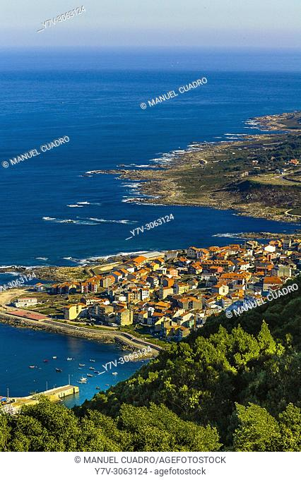 View of the mouth of the Miño river and La Guardia from Monte de Santa Tecla in the town of La Guardia. Pontevedra province, Galicia, Spain