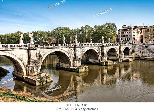 Rome, Italy. View of famous Sant' Angelo Bridge. River Tevere