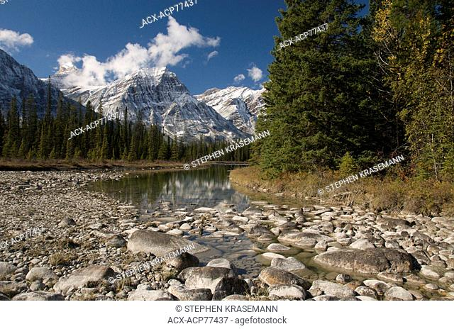 Scenic of Rocky Mountains along Hwy. 93 and Athabasca River, Jasper National Park, Alberta, Canada