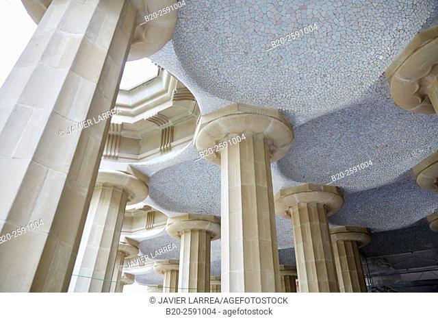 Spain, Catalonia, Barcelona, Park Guell, Hypostyle Hall, Concrete columns