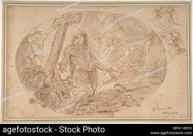 Two Hermits in the Wilderness. Artist: Domenico Maria Canuti (Italian, Bologna 1625-1684 Bologna); Date: 1625-84; Medium: Pen and brown ink, brown wash