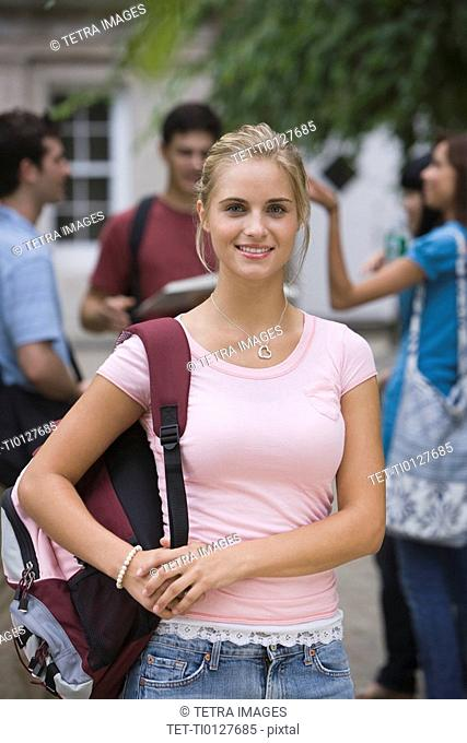 Female college student with bookbag