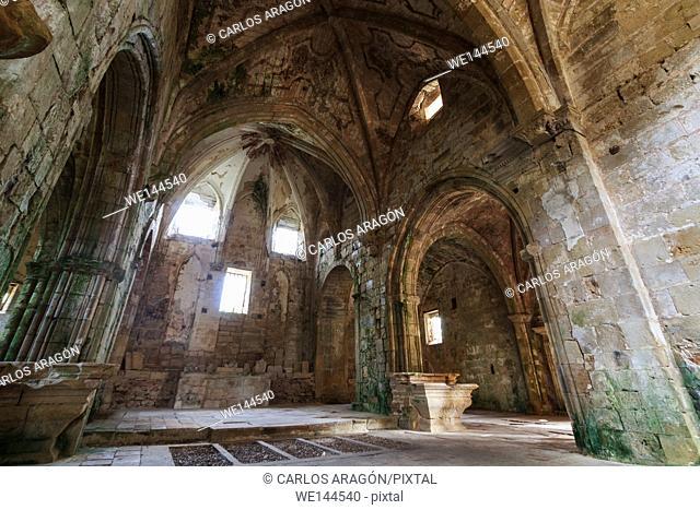 Indoor view abandoned monastery in Rioseco, Burgos, Spain