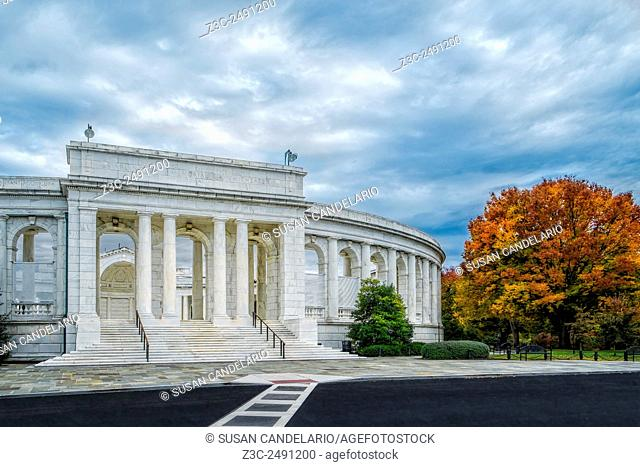 Arlington Memorial Amphitheater - Exterior view to the Arlington Memorial Amphitheater during a peak fall foliage afternoon