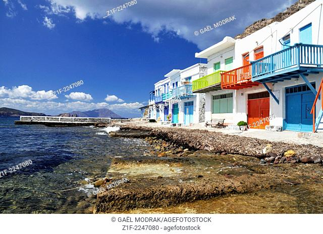 The small colored village of Klima in Milos island, Greece