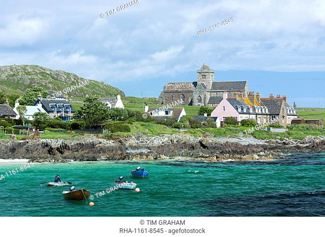 The ancient Iona Abbey and St. Oran's Chapel on the Isle of Iona, Inner Hebrides and Western Isles, Scotland, United Kingdom, Europe