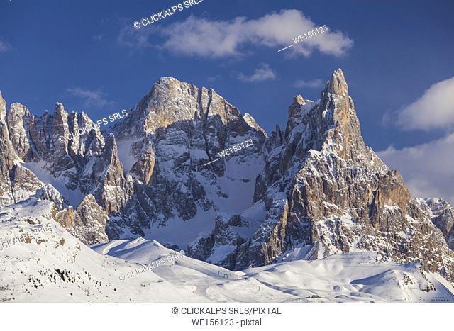 Pale of San Martino, Dolomites, Trento province, Trentino Alto Adige, Italy, Europe. View of Cimon della Pala from Malga Bocche