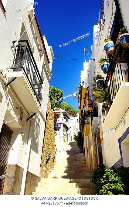 Typical street of the Santa Cruz neighborhood in Alicante, Valencia, Spain