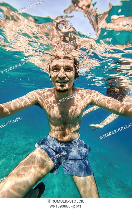 Man Swimming In the Sea, Adriatic Sea, Dalmatia, Croatia
