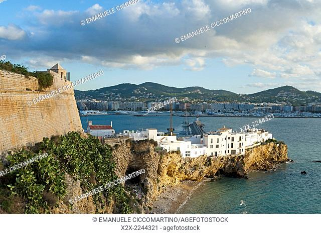 Views of the ramparts and Port of ibiza, Eivissa, Ibiza, Balearic Islands, Spain, Mediterranean, Europe