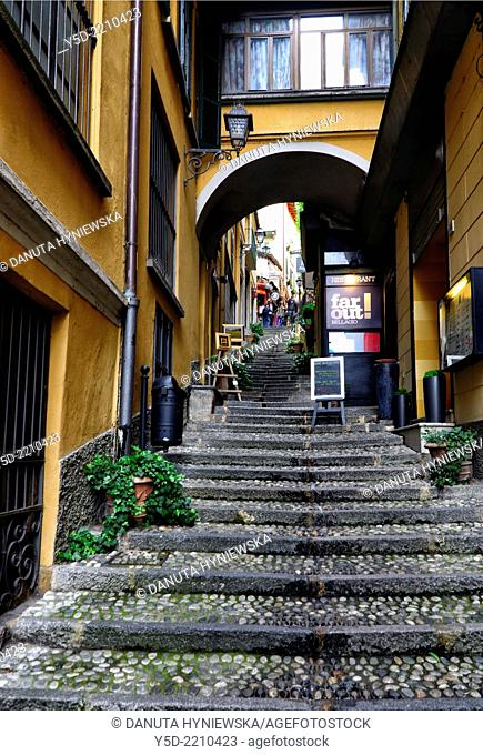 narrow street in Bellagio, Province Como, Lombardy, Lake Como, Italy