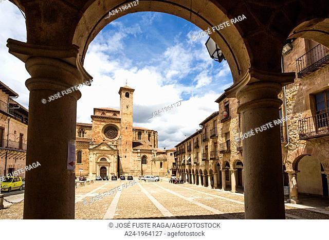 Spain, Castilla La Mancha Region, Guadalajara Province, Sigüenza City, Sigüenza Cathedral, Mayor Square