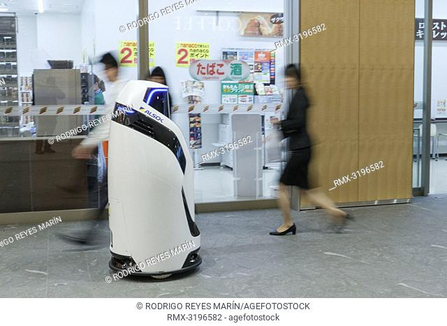 December 12, 2018, Tokyo, Japan - Security robot Reborg-X patrols inside a commercial complex in Tokyo's Marunouchi district