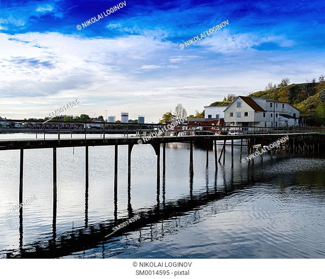 Horizontal vivid Norway bridge over ocean bay landscape background backdrop