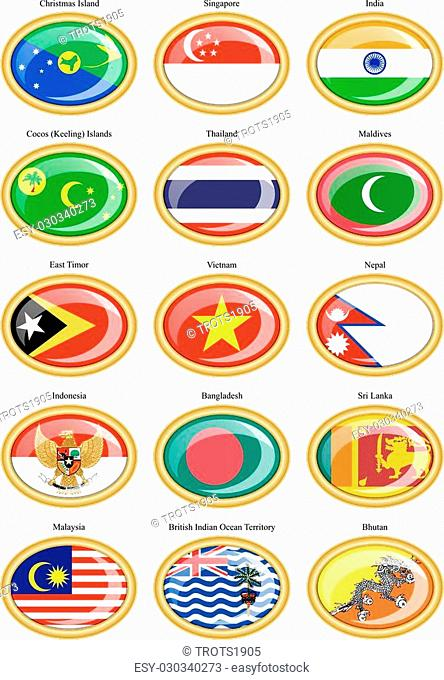 Set of icons. Flags of the Southern Asia